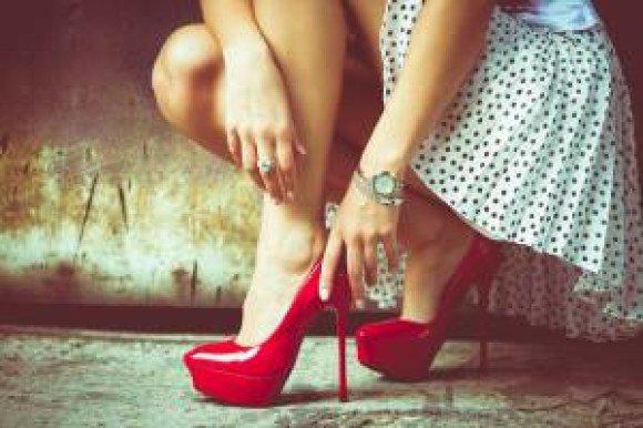boston proper red shoes skirt