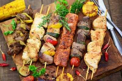 Chicken kabobs on the grill 1